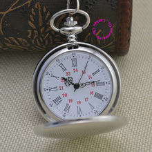 new fashion silver quartz men pocket watch man arabic roman number fob watches smooth surface hour gift short chain dual display