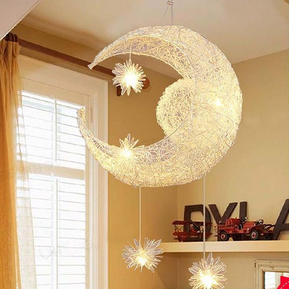 ASCELINA Moon&Star Pendant Lights Kid's Room Lighting Modern Child Bedroom Lamps Aluminum for Living Room Home Decoration