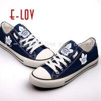 New Hot Sale Blue Canvas Shoes Toronto Maple Leafs Fans Order Shoes Fashion Print Low Top