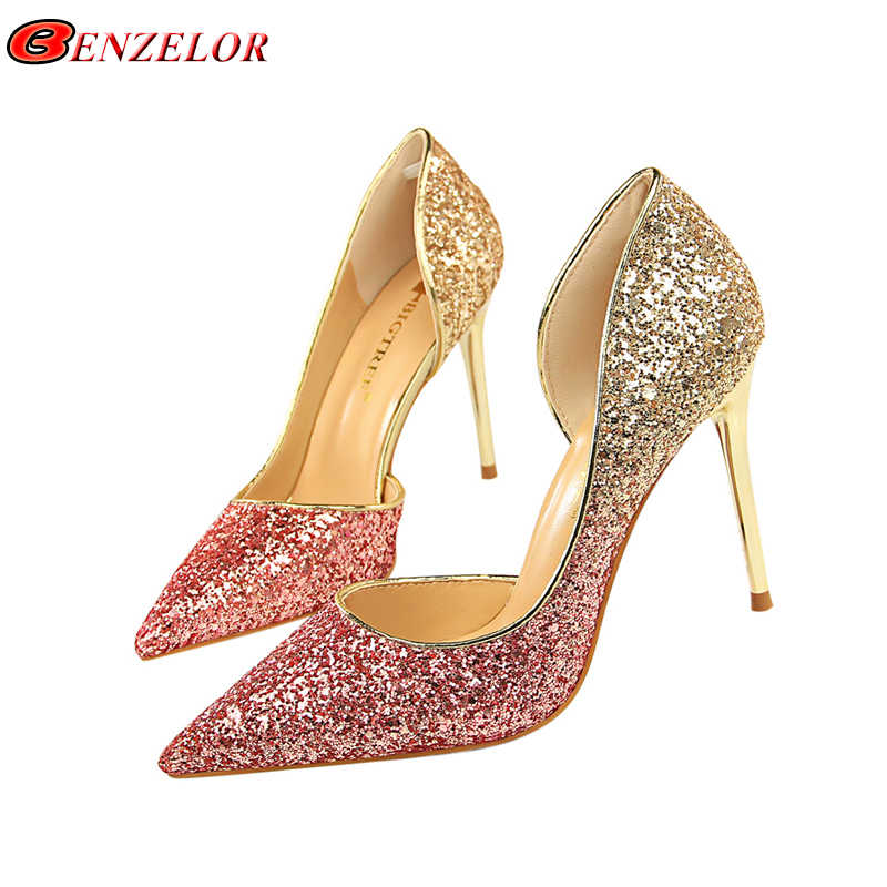 BENZELOR Sequins Pointed Toe Shoes Women Pumps Woman Luxury Bling High  Heels Female Ladies Sexy Party 2af3fc7ff8c9