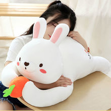 все цены на 60/80 Cm Soft Rabbit Plush Toy Stuffed Adorable Bunny Cute Rabbit Decent Placating Bed Doll Birthday Gift For Kids онлайн