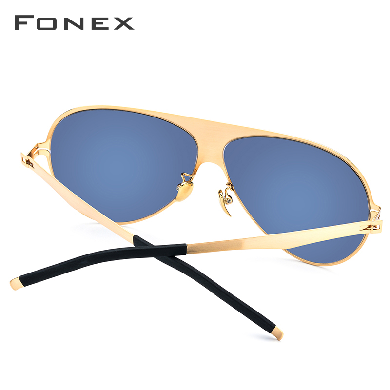 FONEX Aviation Polarized Sunglasses Men 2019 High Quality Brand Designer Big Oversize Screwless Eyewear Sun Glasses For Men 856