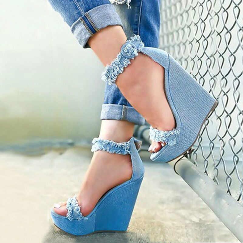 WDHKUN 2020 חדש קיץ כחול ג 'ינס סנדלי טריזי פלטפורמה עקב גבוהה סקסי Zip נשי נשים סנדלי גודל 35-40