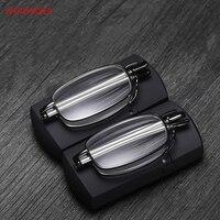 Новый титановый сплав анти-УФ складной очки для чтения для мужчин и женщин вращающийся оптический компьютер мини кошелек очки с диоптриями ...