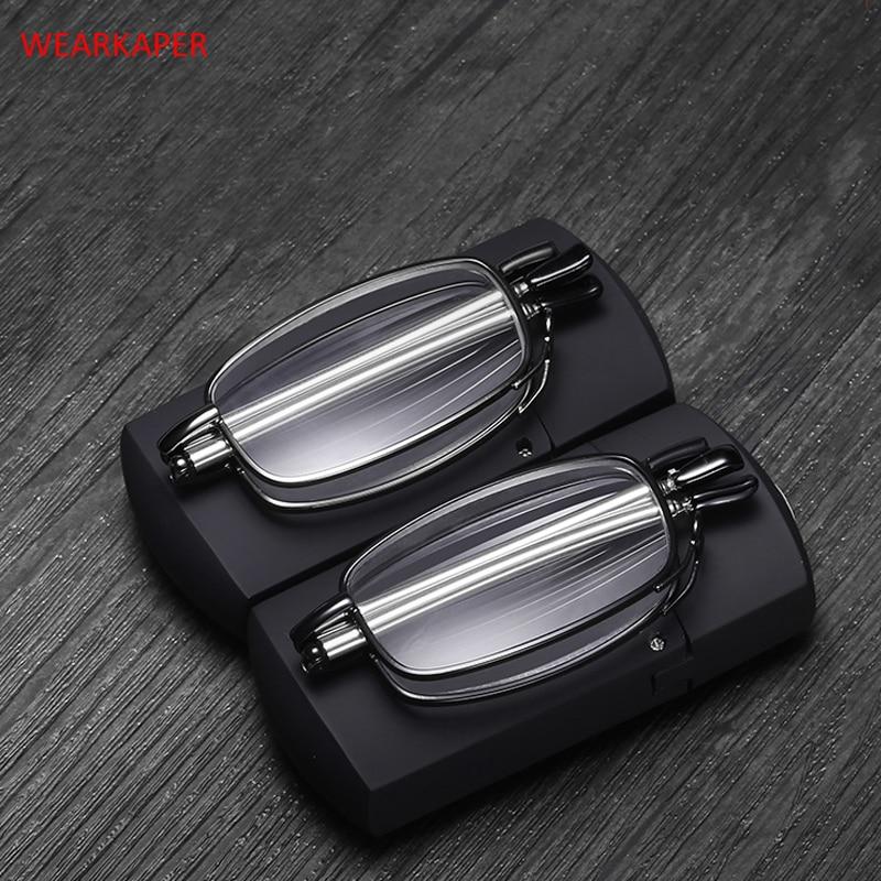 New Titanium alloy Anti UV Folding Reading Glasses Men Women Rotating Optical Computer Mini Wallet Glasses