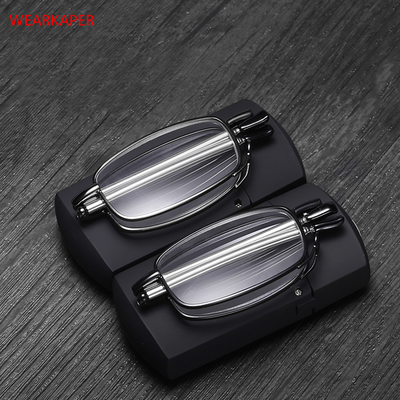 New Titanium alloy Anti-UV Folding Reading <font><b>Glasses</b></font> Men Women Rotating Optical Computer Mini Wallet <font><b>Glasses</b></font> Diopter <font><b>1.0</b></font>-4.0 image
