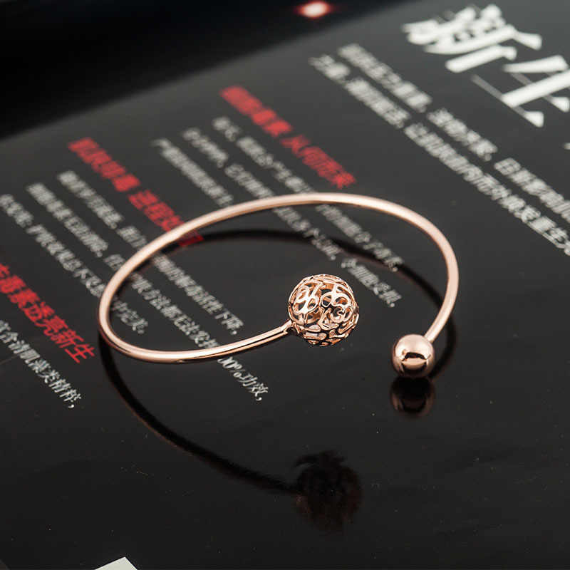 Vàng Mạ Bạc Hollow Hoa Quả Cầu Pha Lê Bangle Mở Cuff Bracelet Điều Chỉnh Thời Trang Charm Trang Sức Cho Nữ Phụ Kiện