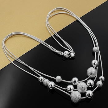 New charm silver color jewelry classic high-quality fashion Three chain light sand beads necklace