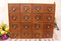 1PC Household Storage Organization Decoration Wood Vintage Wooden Bed Wall Storage Case Drawer Makeup Box Storage Box JL 0900