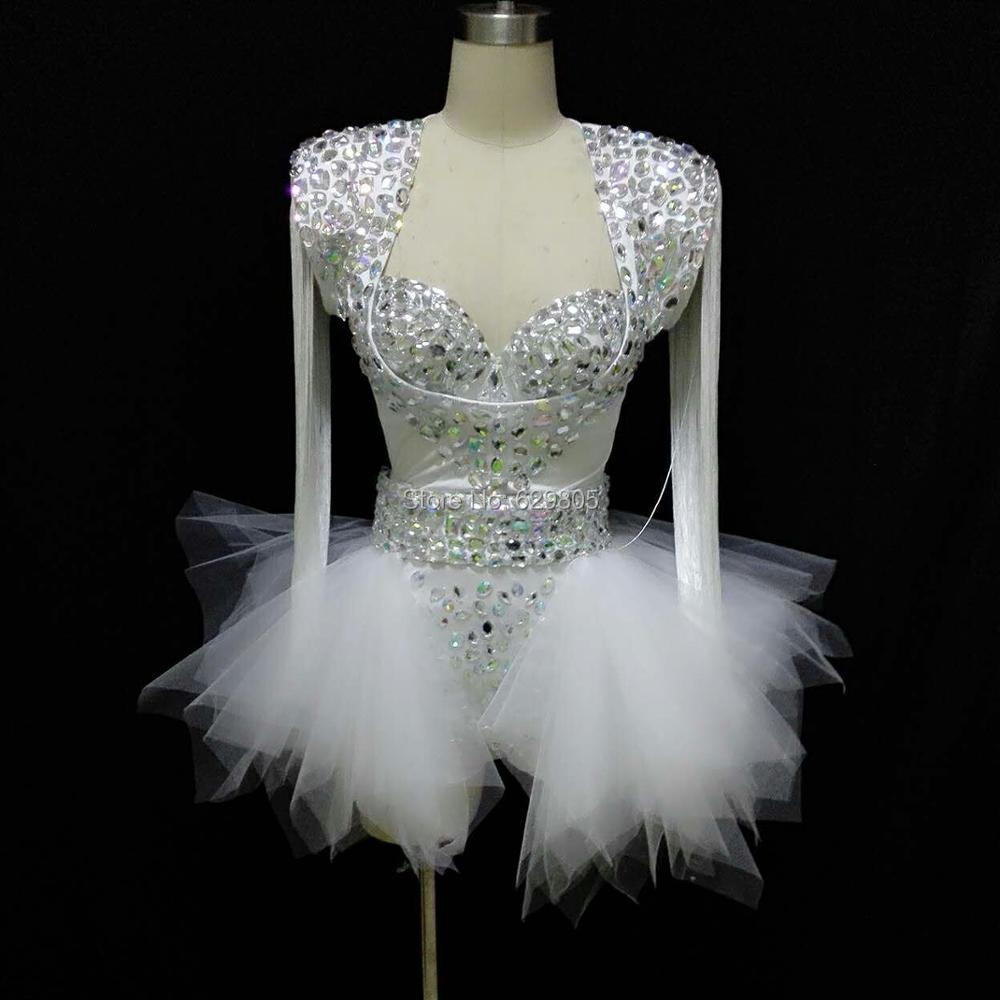 Bright Rhinestones White Sexy Bodysuit Dance Wear Costume One Piece Outfit Women Prom Tutu Female Singer Stage Costumes