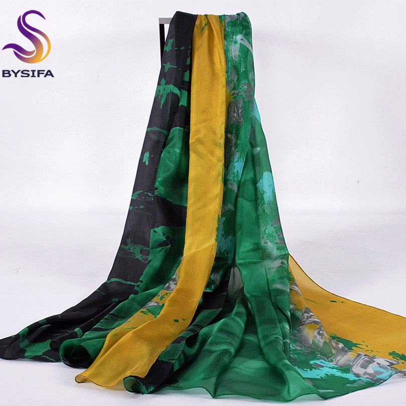 [BYSIFA] Summer Yellow Green Silk   Scarf   Beach Shawl 2016 Fashion Accessories Winter Ladies Long   Scarves     Wraps   Female Silk Cape