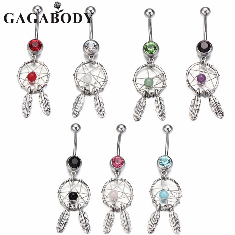 2016 Body Jewelry Crystal Gem Dream Catcher Navel Dangle Belly Barbell Button Bar Ring Body piercing