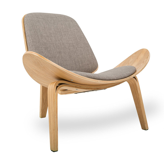 Merveilleux Hans Wegner Style Three Legged Shell Chair Ash Plywood Linen Fabric Seat  Cushion Living Room