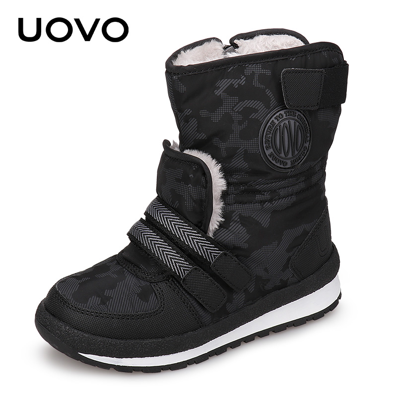 UOVO 2017 New Kids Fashion Boots Side- zip Closure Kids Shoes Warm and Comfortable Boys & Girls Boots for eur size 30#-38# 2016 winter new soft bottom solid color baby shoes for little boys and girls plus velvet warm baby toddler shoes free shipping