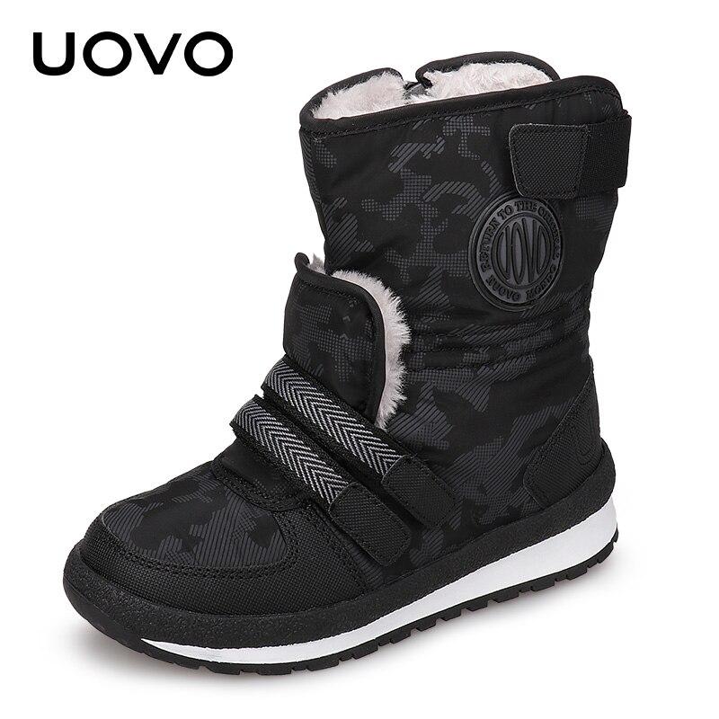 UOVO 2018 новые детские зимние сапоги для мальчиков и девочек теплые зимние ботинки модные ботинки до середины икры детская обувь Размеры 30 #- 38 #
