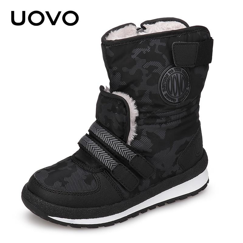 1191d06ae83 UOVO 2019 nuevas botas de invierno para niños y niñas zapatos de invierno  de moda de media pantorrilla calzado para niños tamaño 30 #-38 #