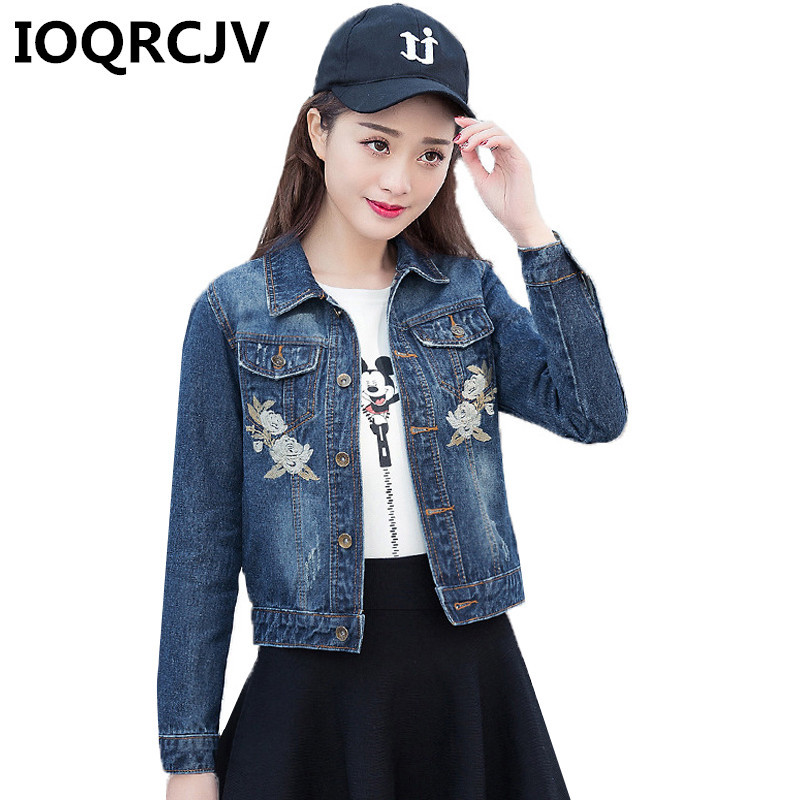 Women   Basic     Jackets   Coats 2019 Autumn New Vintage Denim   Jacket   Femme Elegant Embroidery Casual Jean   Jacket   Bomber Outwear R581