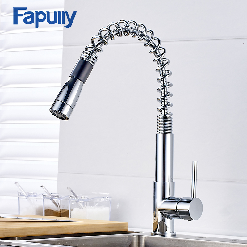 Fapully Pull Out Kitchen Faucet Chrome Sink Mixer Tap Deck Mounted 360 Degree Rotating Pull Out Faucet Mixer Torneira 160-33C new arrival pull out kitchen faucet chrome black sink mixer tap 360 degree rotation kitchen mixer taps kitchen tap