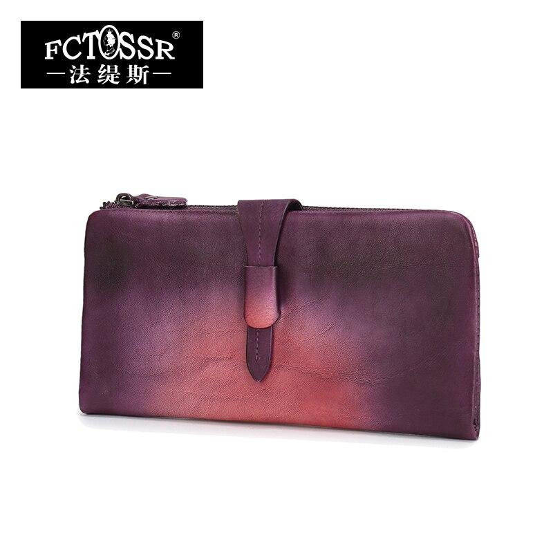 2018 Latest Women Wallet Handmade Genuine Leather Long Wallets Multi Credit Card Holder Purse Lady Birfold Clutch Wallet