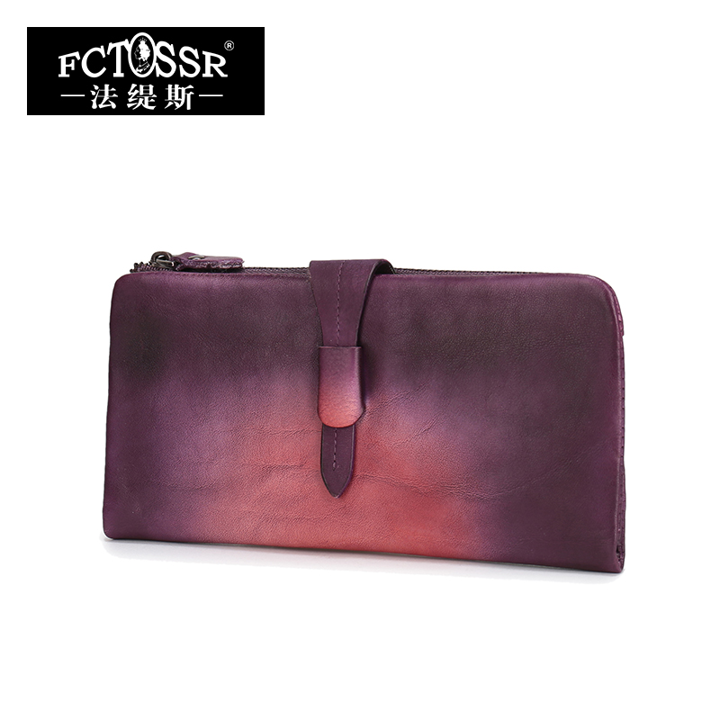 New Arrival Original Design Women Wallet Genuine Leather Vintage Women Long Clutch Card Holder Purse Three Colors