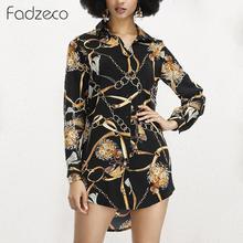 цены на Fadzeco Women Dashiki African Shirt Dress Elegant Chain Print Long Sleeve Floral Shirts Blouse Top Ethnic Tribal Mini Dress Belt  в интернет-магазинах
