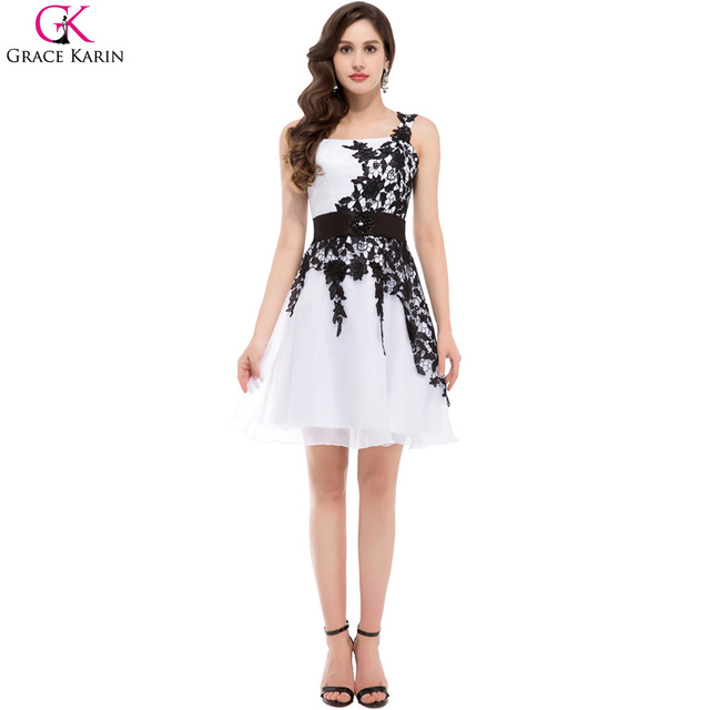 6f378c3332a7 Grace Karin Short Cocktail Dresses 2017 New Sexy Black Appliques Lace Dress  for Party Robe De