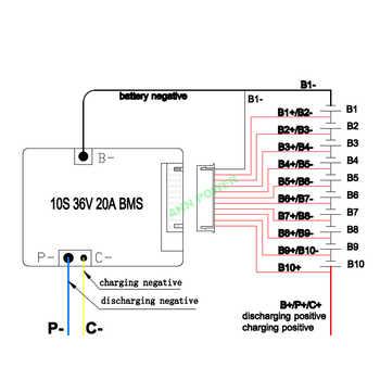 10S 36V (42V) 20A lithium ion battery BMS For 36V 10Ah E-bike li-ion batteries pack With the balance function 36V 20A BMS