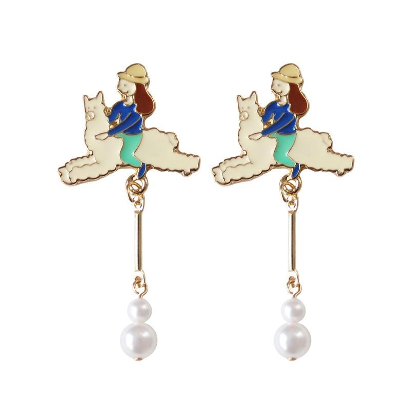 Animal Alpaca Earrings Long Pearl Dangle Earring for Wemen Cute Girl Riding a Sheep Eardrop Sweet Girls Jewelry Accessories Q215