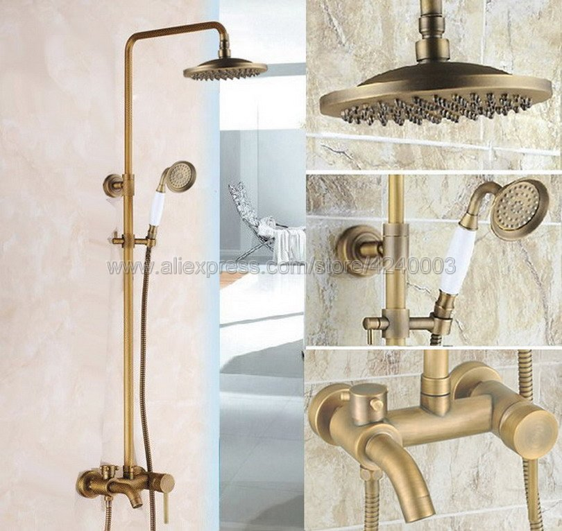 Antique Brass 8 Rainfall Shower Head Bathroom Shower Faucet Set Tub Mixer Tap with Hand  ...