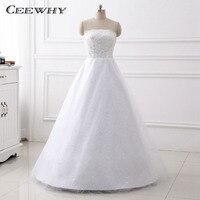 CEEWHY Strapless Sequined A Line Wedding Dresses Vestido De Novia Sirena Embroidery White Bridal Dress Wedding