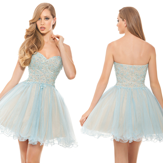 Top Fashion Sweetheart Crystal Beaded Light Blue Cocktail Dresses Short Ball Gown Prom Party Gowns Custom Size CPCD34