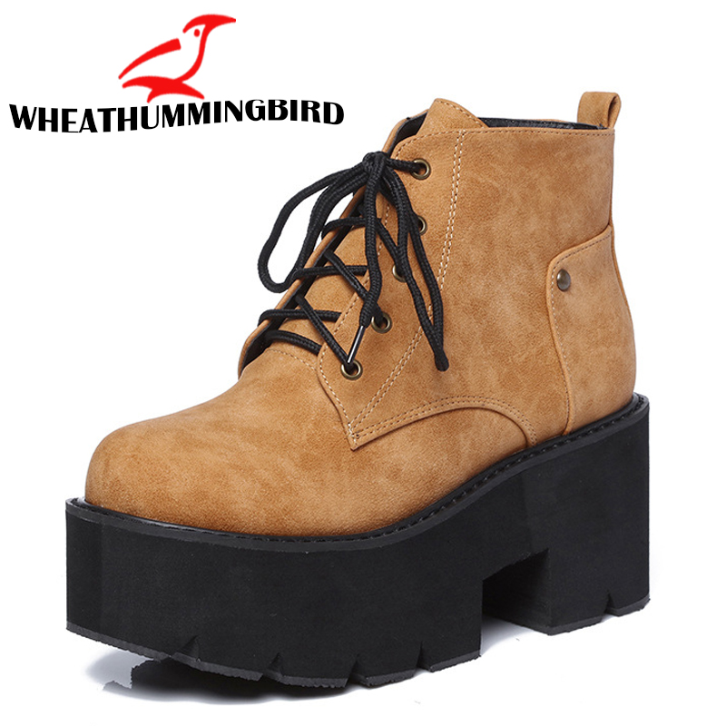 Punk boots women platform boots High Heel winter shoes Lady Ankle Boots Fashion Female Black shoes Boots Zip Thick Soled MD 53