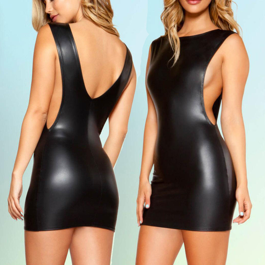 <font><b>Sexy</b></font> PU Mini <font><b>Dress</b></font> Women O-Neck <font><b>Sleeveless</b></font> Backless <font><b>Bodycon</b></font> <font><b>Dresses</b></font> <font><b>Summer</b></font> Clubwear <font><b>Black</b></font> <font><b>Dress</b></font> Women Clothes <font><b>2019</b></font> image