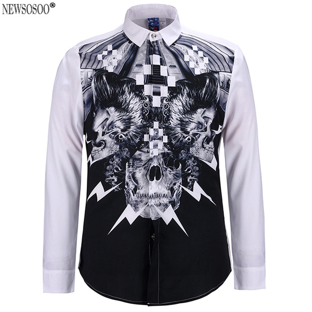 Newsosoo New Europe and America style 3D skull printing casual shirts men high quality mens long sleeve fit slim shirt  DS8