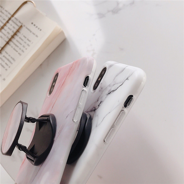 Marble Flexible Stand Holder Case For iPhone XS XS Max X 8 7 6S Plus For Huawei P20 For Samsung S10 Soft IMD Phone Cover 3