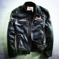 Male genuine cowhide leather short slim clothing men's harley motorcycle biker leather jacket cow skin leather coat