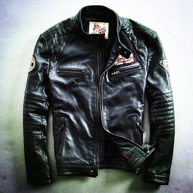 Read Description! Asian size Harley motorcycle rider jacket, slim mens genuine leather jacket, man's genuine leather coat