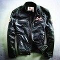 Ropa corta delgada de cuero genuino del zurriago masculino de los hombres harley motocicleta motorista chaqueta de cuero abrigo de cuero de piel de vaca