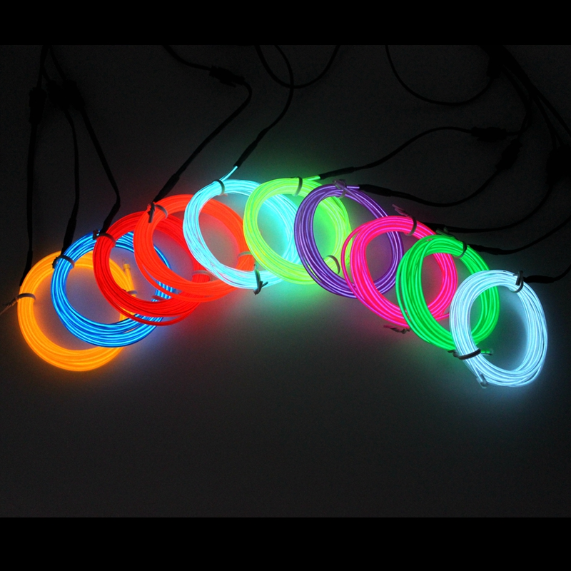 1/2/3/5/10M EL Wire DIY Flexible Neon Light Glow Rope Tape Cable LED String Light  For Party Dance Car Decoration