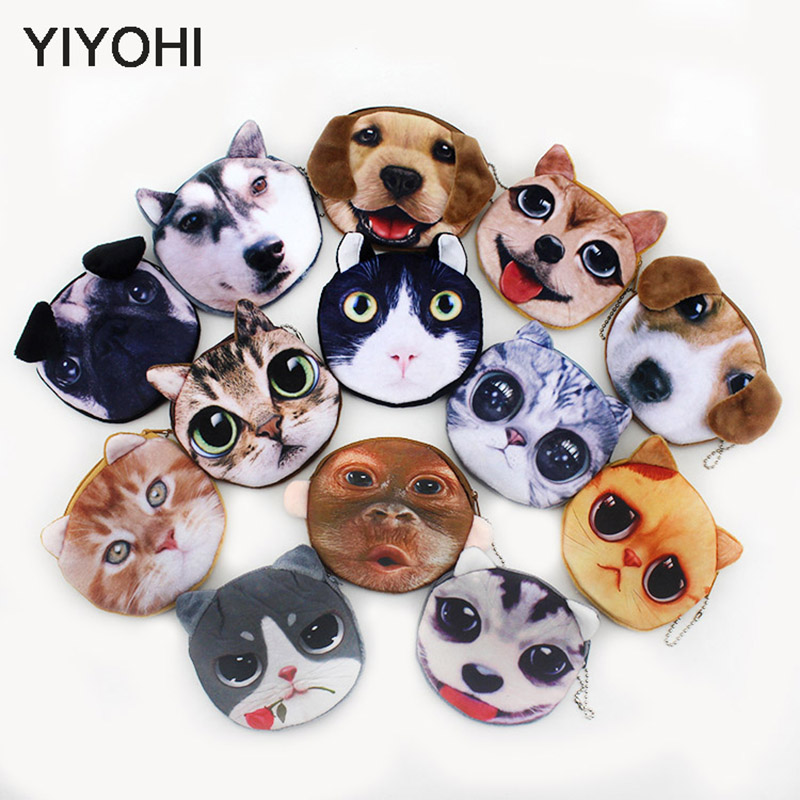 20 Styles New 3D printing Cat /Dog Face Zipper Case Children Coin Purse Lady Cute Wallet Pouch Women Girl Makeup Buggy Bag