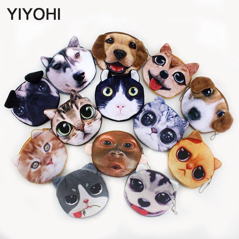 20 Styles New 3D printing Cat Dog Face Zipper Case font b Children b font Coin