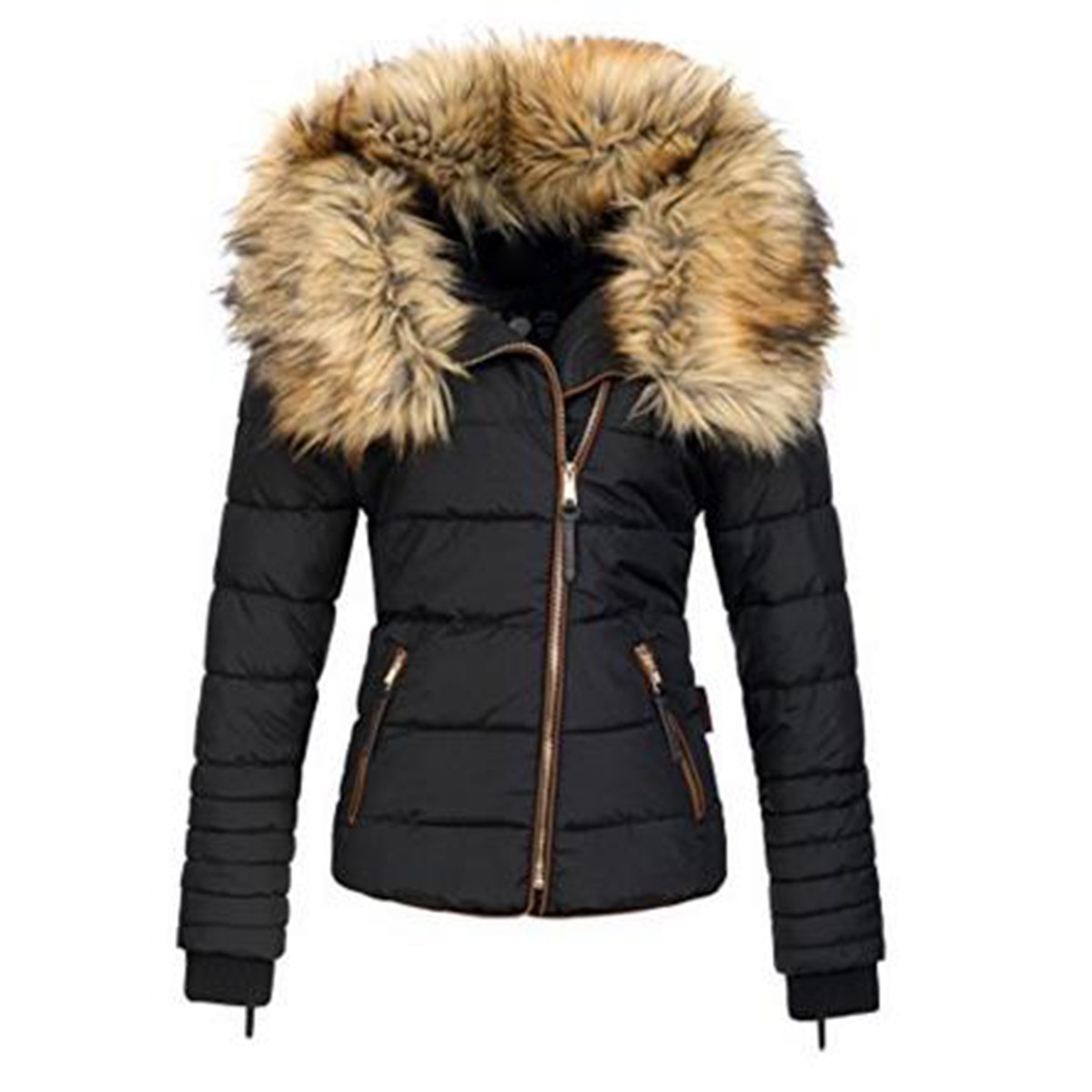 Winter women short parkas coat warm fake fur collar zipper black solid pocket slim cool lady Autumn Cotton Thicken coat jacket