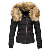 Winter women short parkas coat warm fake fur collar zipper black solid pocket slim cool lady Autumn Cotton Thicken coat jacket