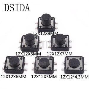 10PCS PCB Tactile Tact Mini Push Button Switch SMD 4pin Micro switch 12*12*4.3/5/6/7/8/9 MM 12x12*4.3MM/5MM/6MM/7MM/8MM/9MM(China)