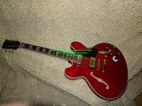 China gitarre Rote Benutzerdefinierte gitarre 6 gang schalter Hohlen E-gitarre Jazz system Flamme top OEM Günstige