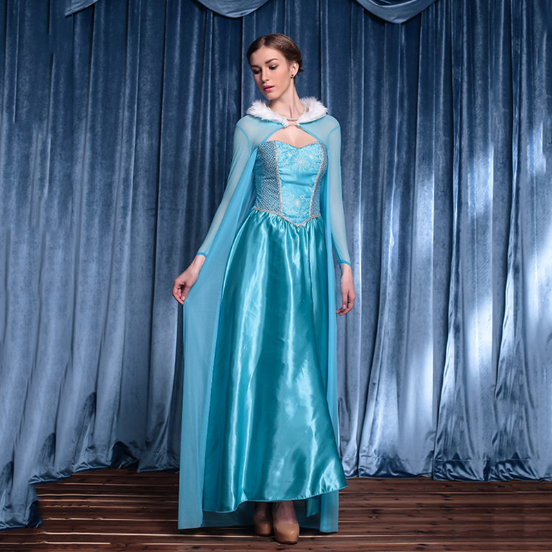 Queen Elsa Dresses Elsa Elza Costumes Princess Anna Blue Dress Girl Party Vestidos Fantasia Adult Women Clothing Party Cloak Set