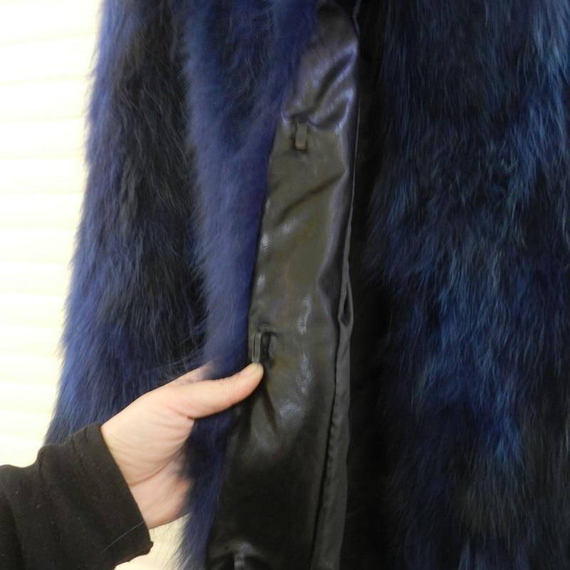 Hakiki Deri Ceket Rakun Ceket Uzun Ceket Uzun Kollu Kalın sıcak - Bayan Giyimi - Fotoğraf 4