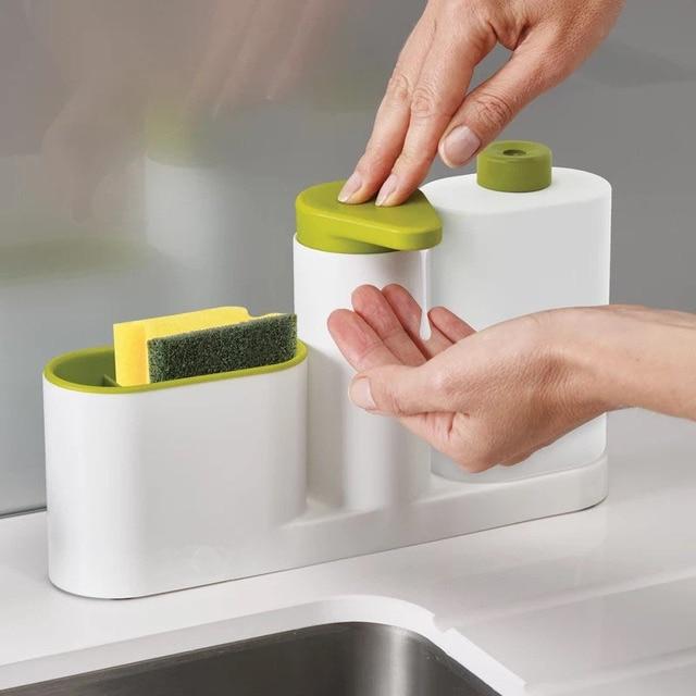Multi Function Kitchen Storage Racks Bathroom Liquid Soap Dispenser Sponge Holder Container Toothbrush Organizer Cooking