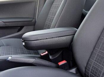 พอดีสำหรับ VW Polo กล่องผู้ถือคอนโซลหนังสีดำออกแบบใหม่ 2011-2016