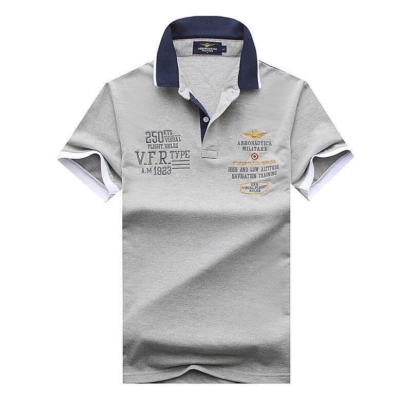 New 2018 air force one Top Quality embroidery men's Aeronautica militare Men Shirts Brand   POLO   diamond Fashion shark clothing la